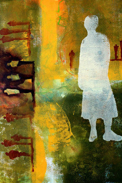 Abstract People Painting - Thinking About The Past by Nancy Merkle