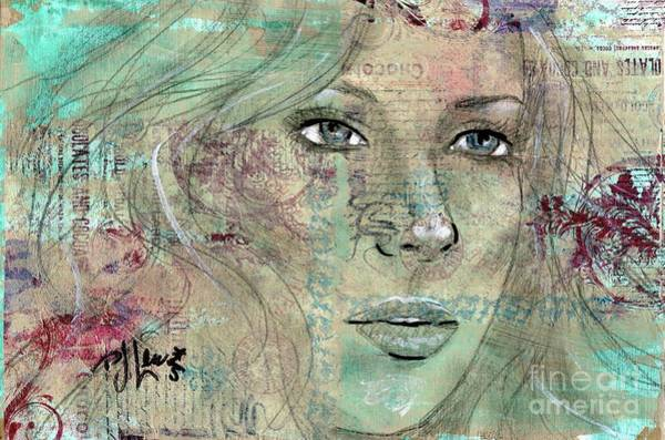 Mixed Media Drawing - Thinking Back by PJ Lewis