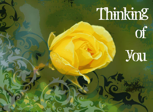 Posterize Photograph - Thinking Of You Yellow Rose by Cathie Tyler