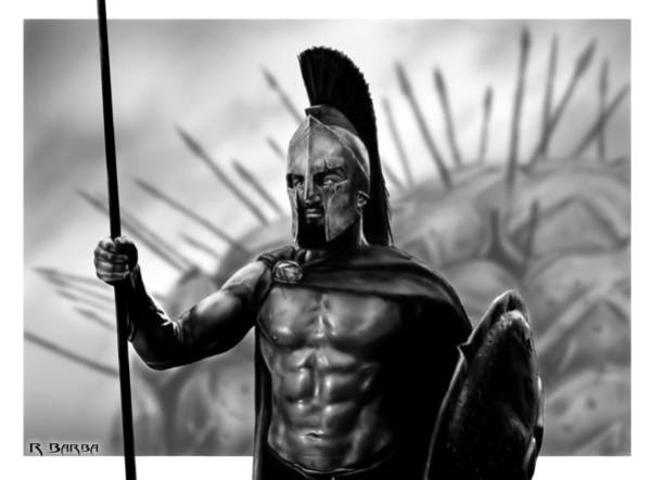 Grayscale Digital Art - This Is Sparta by Ronald Barba