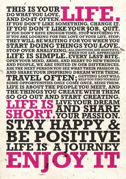 Hard Work Digital Art - This Is Your Life Do What You Love Inspirational Quotes Poster by Lab No 4