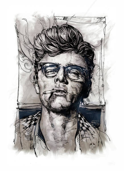 Inking Wall Art - Drawing - This James Dean Inking And Painting by Garth Glazier