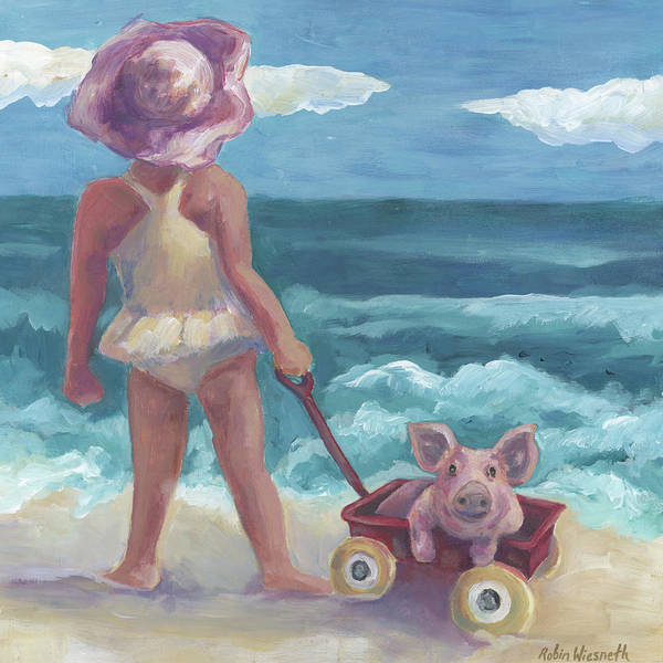 Red Wagon Painting - This Little Pig by Robin Wiesneth