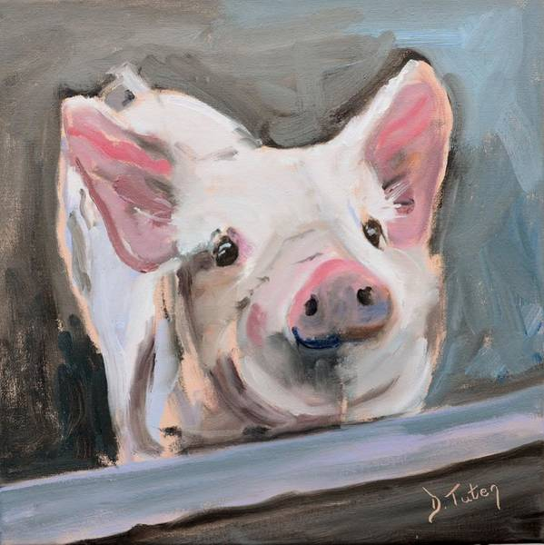 Painting - This Little Piggy by Donna Tuten