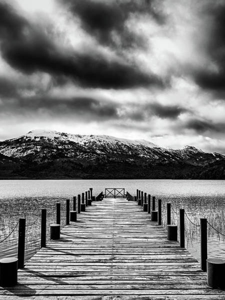 Photograph - Landscape With Lake And Snowy Mountains In The Argentine Patagonia - Black And White by Fine Art Photography Prints By Eduardo Accorinti