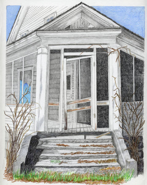Homestead Drawing - This Old House by Laurie With