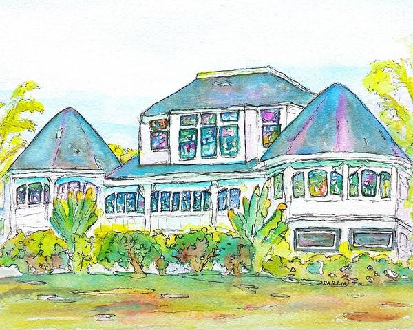 Painting - Thistle Lodge Pen Ink And Watercolor by Carlin Blahnik CarlinArtWatercolor