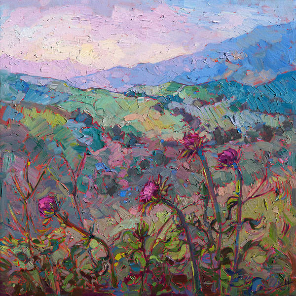 Hillside Wall Art - Painting - Thistles At Paso by Erin Hanson