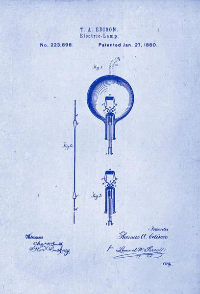 Artful Drawing - Thomas A. Edison Electric Lamp Patent Drawing 1880 Blueprint Inverse by Patently Artful