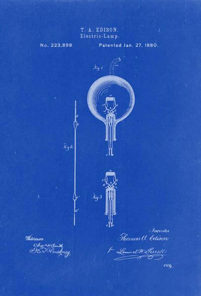 Artful Drawing - Thomas A. Edison Electric Lamp Patent Drawing 1880 Blueprint by Patently Artful