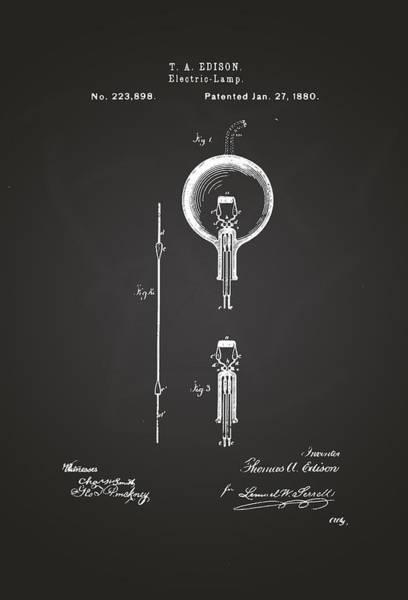 Artful Drawing - Thomas A. Edison Electric Lamp Patent Drawing 1880 Chalkboard by Patently Artful