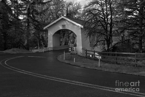 Photograph - Thomas Creek Covered Bridge - Black And White by Adam Jewell