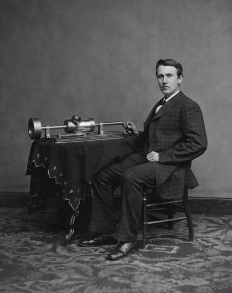 Inventor Photograph - Thomas Edison And His Phonograph by War Is Hell Store