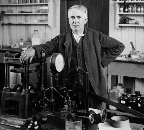 Inventor Photograph - Thomas Edison In His Lab - New Jersey - Circa 1901 by War Is Hell Store