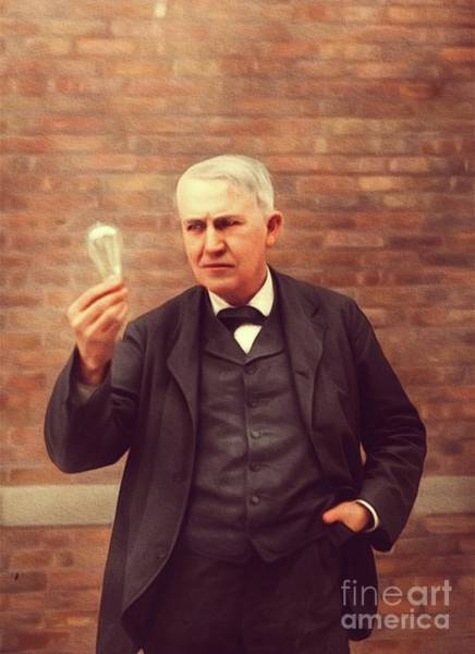 Inventor Wall Art - Painting - Thomas Edison, Inventor by Mary Bassett