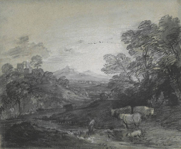 Drawing - Thomas Gainsborough - Wooded Landscape With Herdsmen And Cattle by Thomas Gainsborough