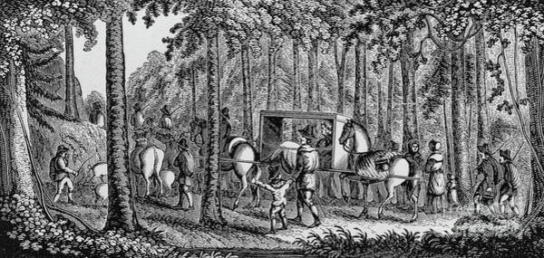Woodland Drawing - Thomas Hooker And His Congregation Traveling Through The Wilderness by American School