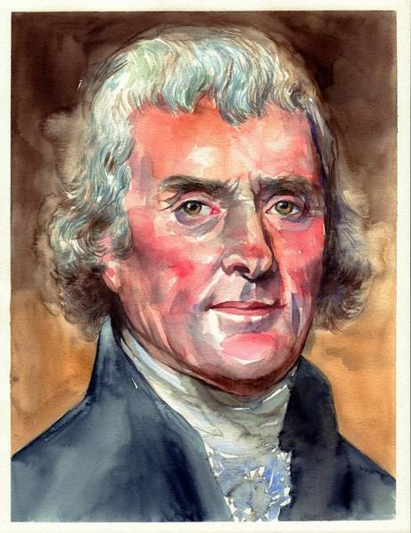 United States Presidents Painting - Thomas Jefferson Portrait by Suzann Sines