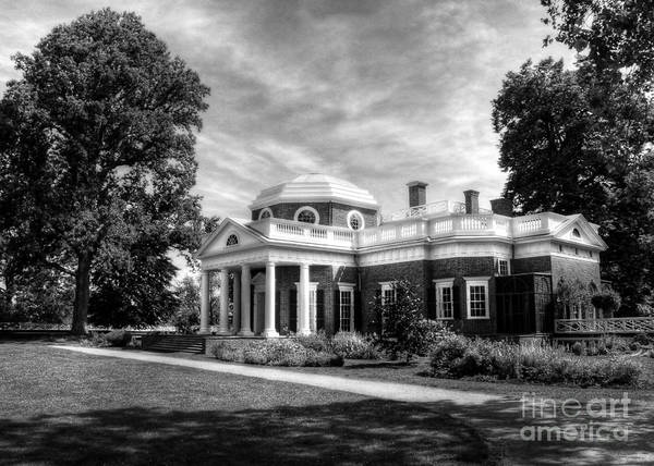 Photograph - Thomas Jefferson's Home Bw by Mel Steinhauer