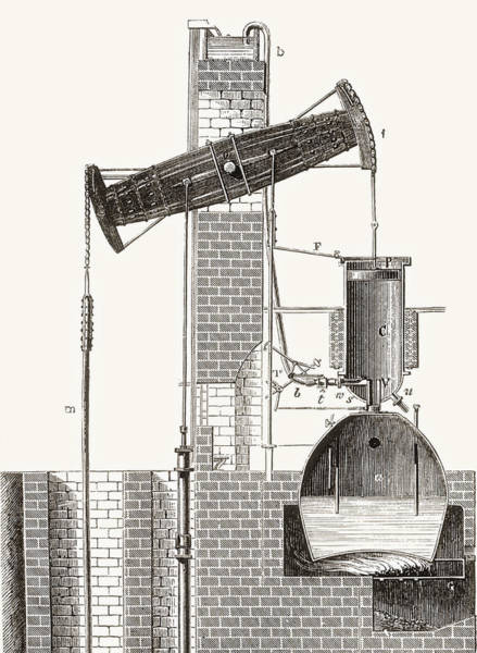 Pump Drawing - Thomas Newcomen S Atmospheric Steam by Vintage Design Pics