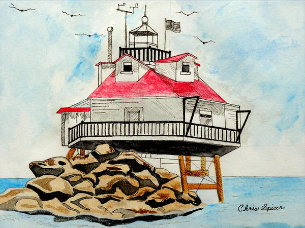 Pylon Painting - Thomas Point Lighthouse by Christopher Spicer