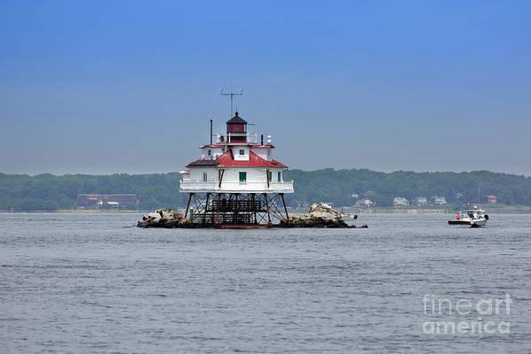 Screw Pile Wall Art - Photograph - Thomas Point Shoal Light Chesapeake Bay Maryland by Louise Heusinkveld