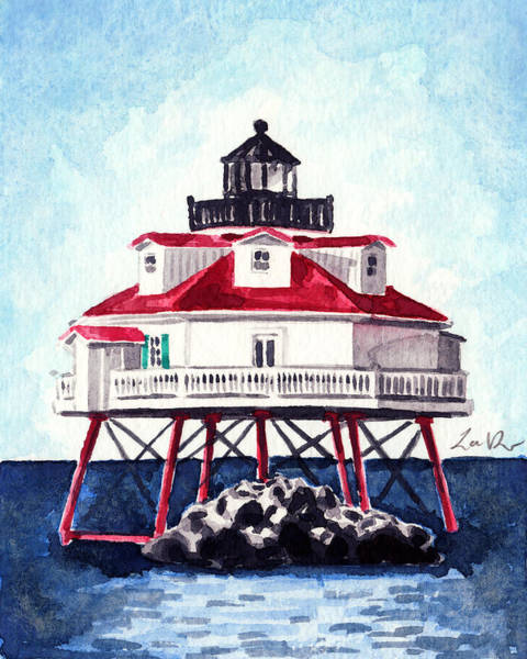 Wall Art - Painting - Thomas Point Shoal Lighthouse Annapolis Maryland Chesapeake Bay Light House by Laura Row