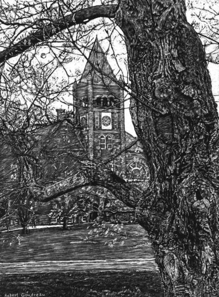 Scratchboard Drawing - Thompson Hall At Unh by Robert Goudreau