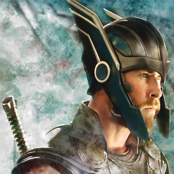 Super Hero Mixed Media - Thor Chris Hemsworth by Love Art