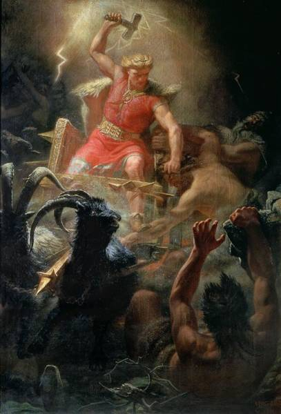 Ram Painting - Thor Fighting With The Giants by Marten Eskil Winge