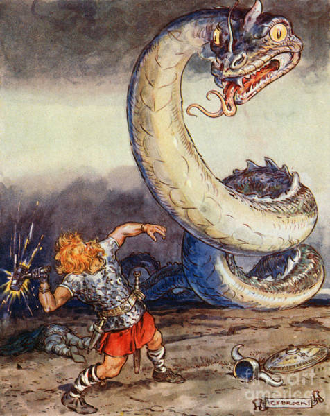 Wall Art - Painting - Thor Went Forth Against Jormungand by Charles Edmund Brock