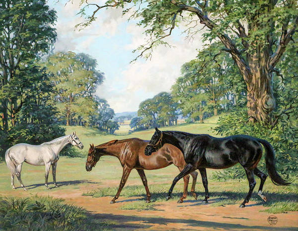 Jeanne Wall Art - Painting - Thoroughbred Mares At Grass by Jeanne Mellin Herrick