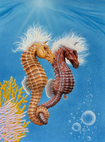 Painting - Thoroughbred Seahorses by Sam Davis Johnson
