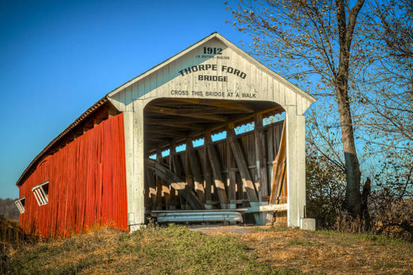 Photograph - Thorpe Ford Covered Bridge by Jack R Perry