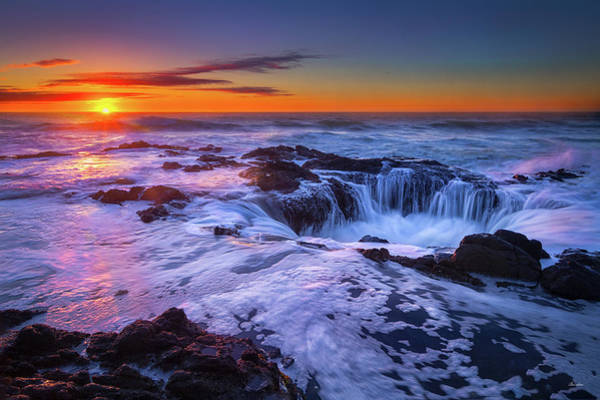 Wall Art - Photograph - Thor's Well At Sunset by Chris Steele