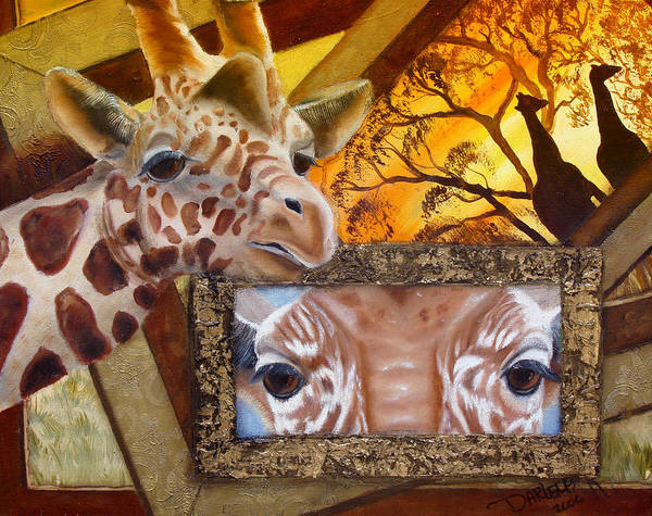 Wall Art - Painting - Those Eyes     Giraffe  Safari Series No 3 by Darlene Green