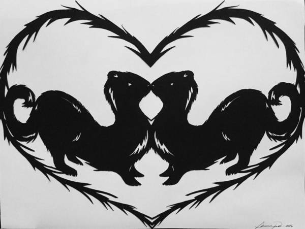 Ferrets Drawing - Those Minks Will Steal Your Heart -but Mostly Your Eggs by Summer Porter