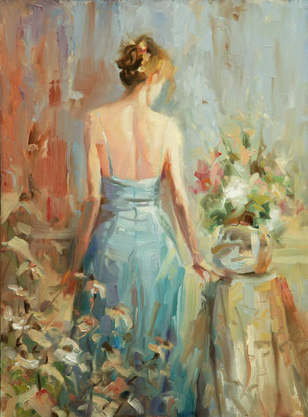 Blue Hair Wall Art - Painting - Thoughtful by Steve Henderson