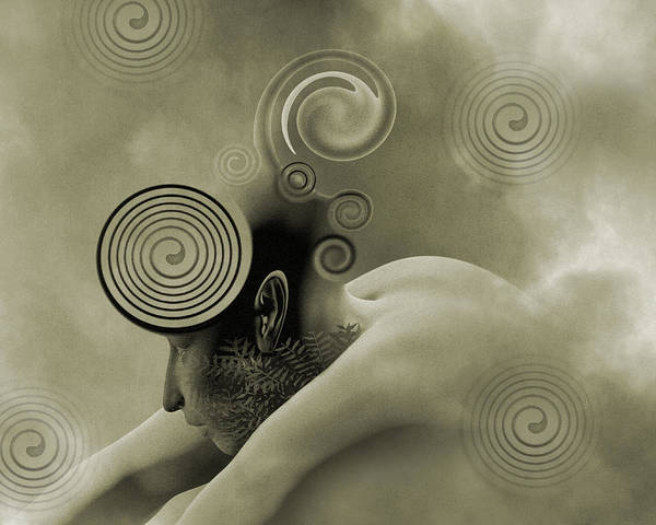 Twisted Digital Art - Thoughts Are Born Sepia by Betsy Knapp