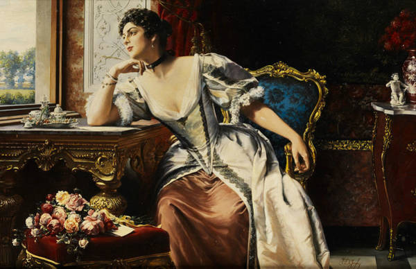 Painting - Thoughts In Writing The Letter by Gustave Leonard de Jonghe