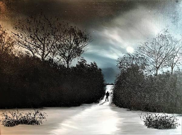 Wall Art - Painting - Thoughts On The Night Path by Willy Proctor