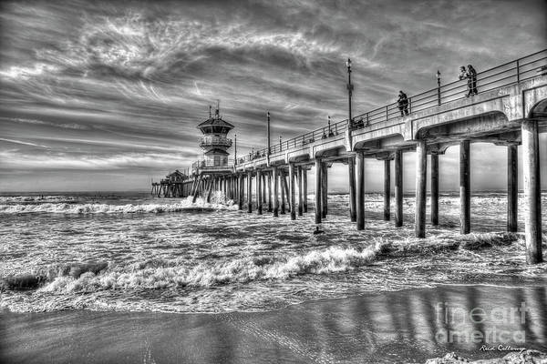 Photograph - Threading The Needle B W Huntington Beach Pier California Surfing Los Angeles Collection Art by Reid Callaway
