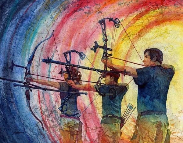 Archery Wall Art - Painting - Three 10s by Hailey E Herrera