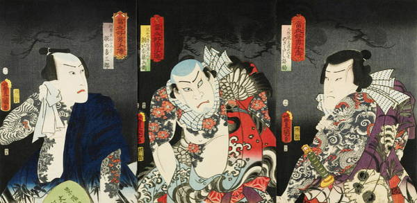 Full Bloom Painting - Three Actors In Their Roles, From The Series Stories Of The Heroes Of The Suikoden Tosei Suikoden by Utagawa Kunisada