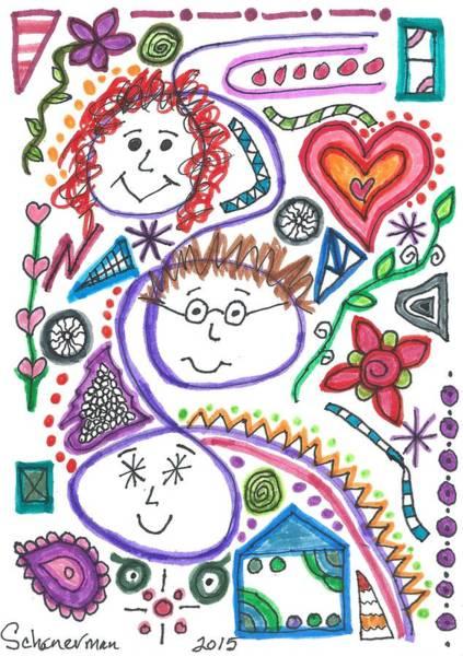 Drawing - Three Amigos by Susan Schanerman