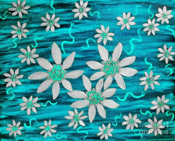 Painting - Three And Twenty Flowers On Blue by Rachel Hannah