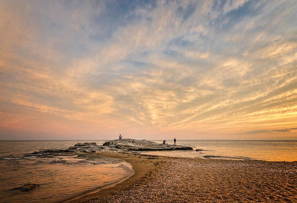 Wall Art - Photograph - Three Anglers At Hightide by Simmie Reagor
