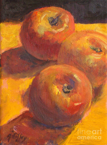 Painting - Three Apples by Joan Coffey