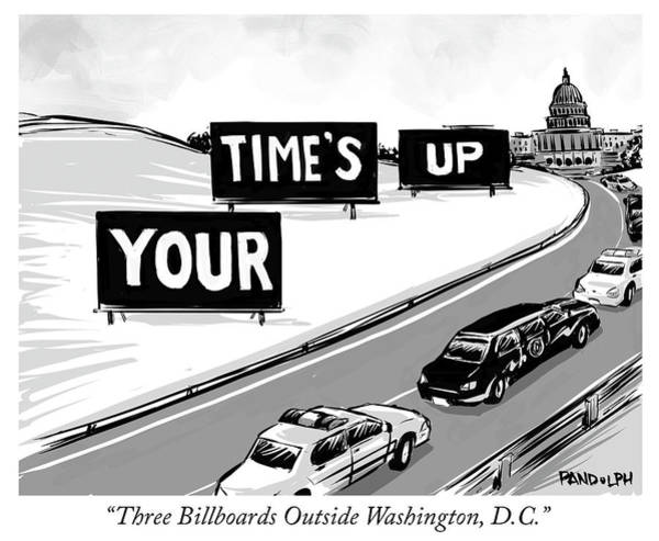 Government Drawing - Three Billboards Outside Washington Dc by Corey Pandolph