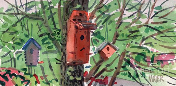 Birdhouse Painting - Three Birdhouses by Donald Maier
